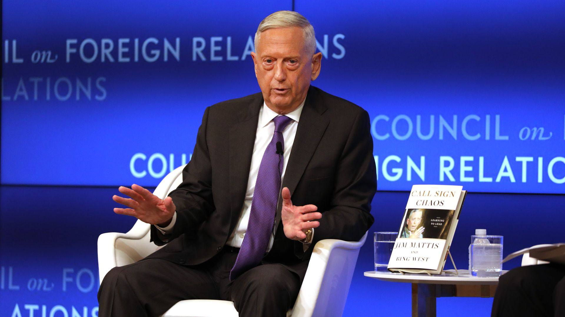 Former Defense Secretary General James Mattis speaks with Richard Haass at The Council on Foreign Relations on September 03, 2019 in New York City.