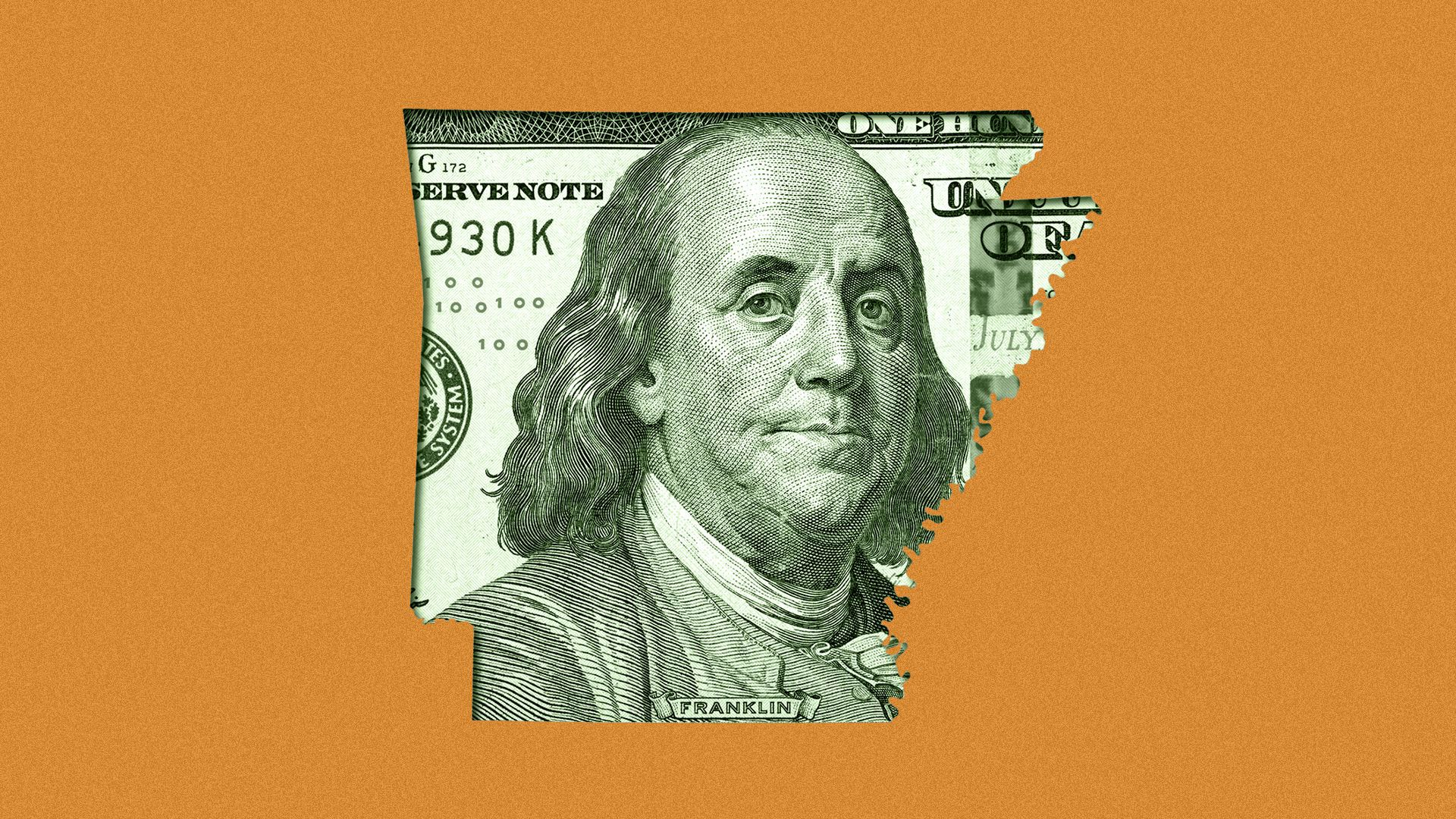 Illustration of a hundred-dollar bill masked by the shape of the state of Arkansas.