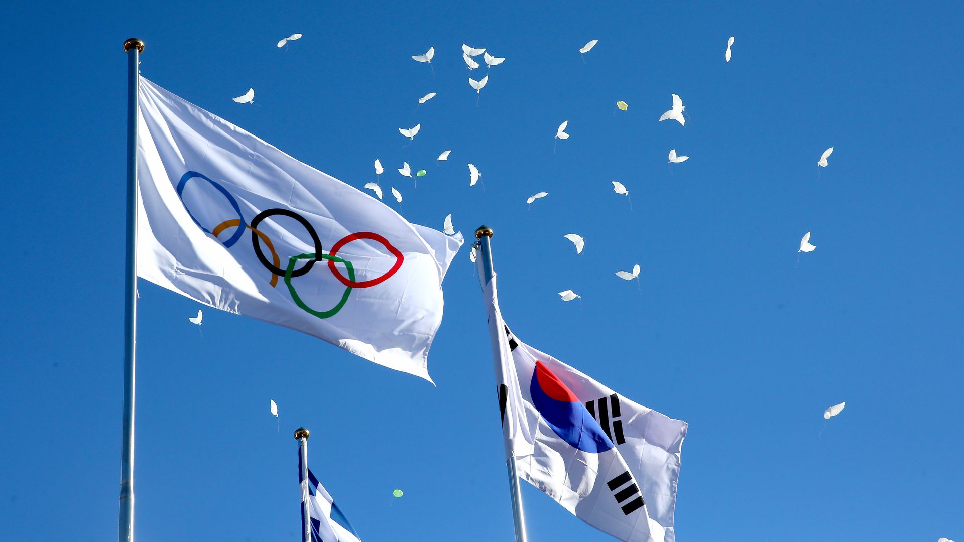 Olympic and South Korean flags