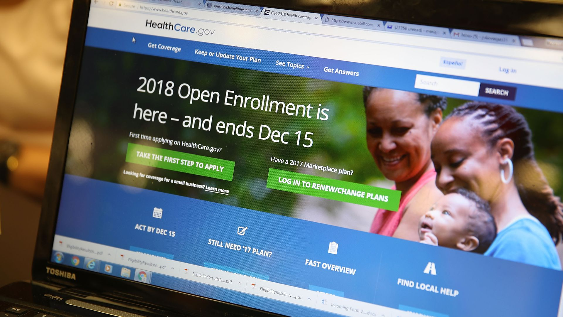 a computer showing the HealthCare.gov website