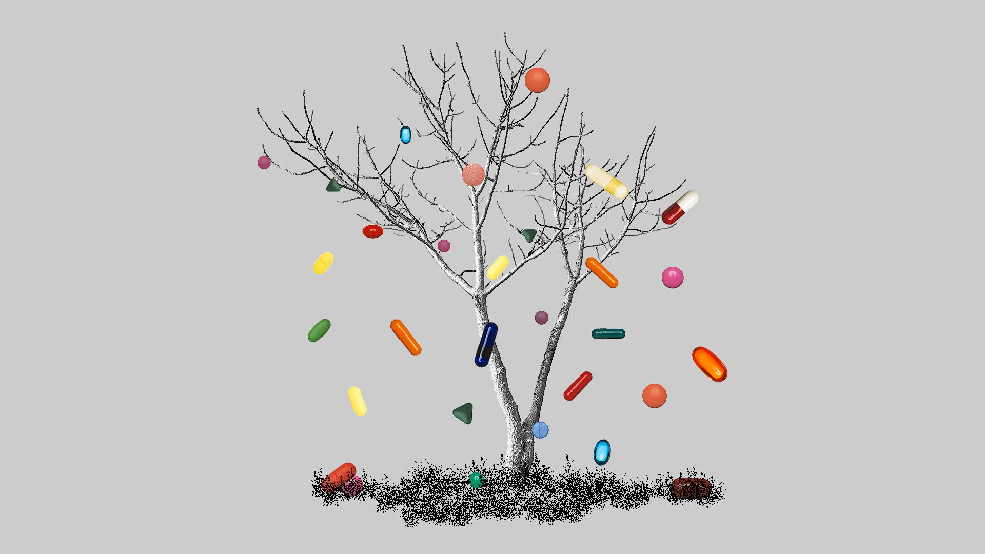 Illustration of a tree shedding pills instead of leaves.