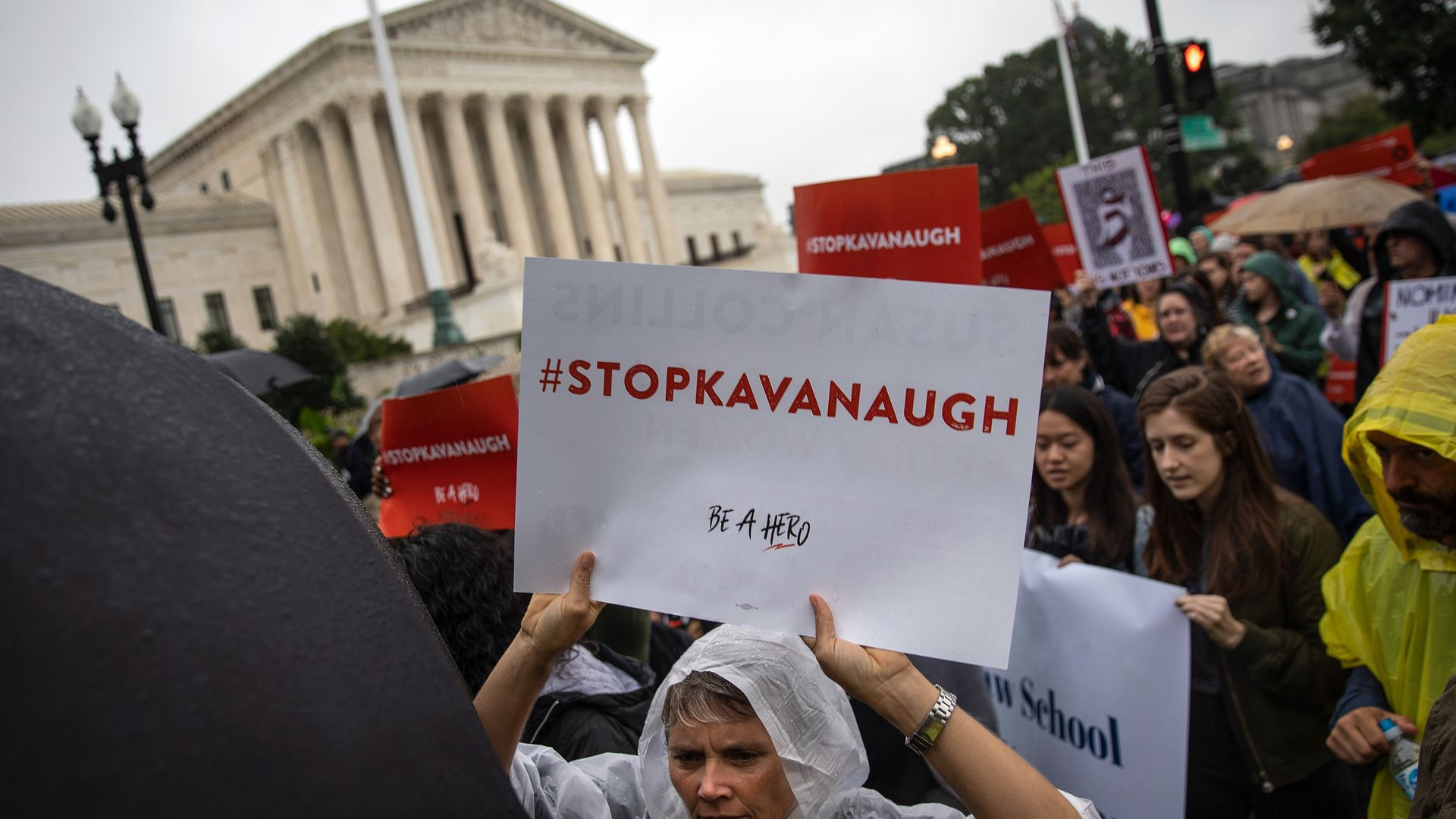 Anti-Kavanaugh protesters outside the Supreme Court