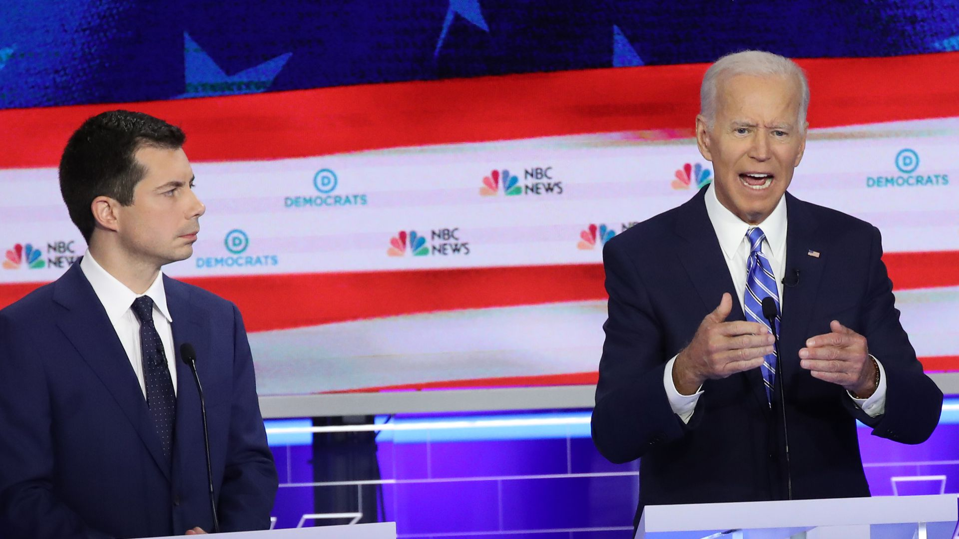 Democratic presidential candidates (L-R) South Bend, Indiana Mayor Pete Buttigieg, former Vice President Joe Biden  in the first Democratic presidential debate on June 27, 2019 in Miami, Florida.