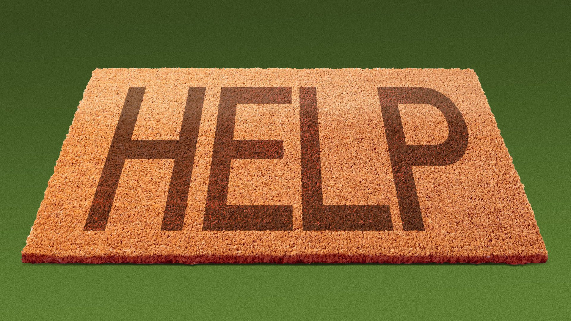 """Illustration of a welcome mat that reads """"help"""""""
