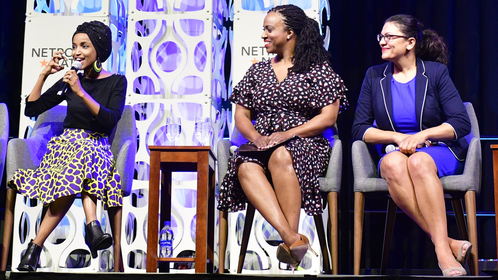 Rep. Ayanna Pressley (D-MA), Rep. Rashida Tlaib (D-MI)  take part in a panel discussion at the Netroots Nation progressive grassroots convention in Philadelphia, PA, on July 13.