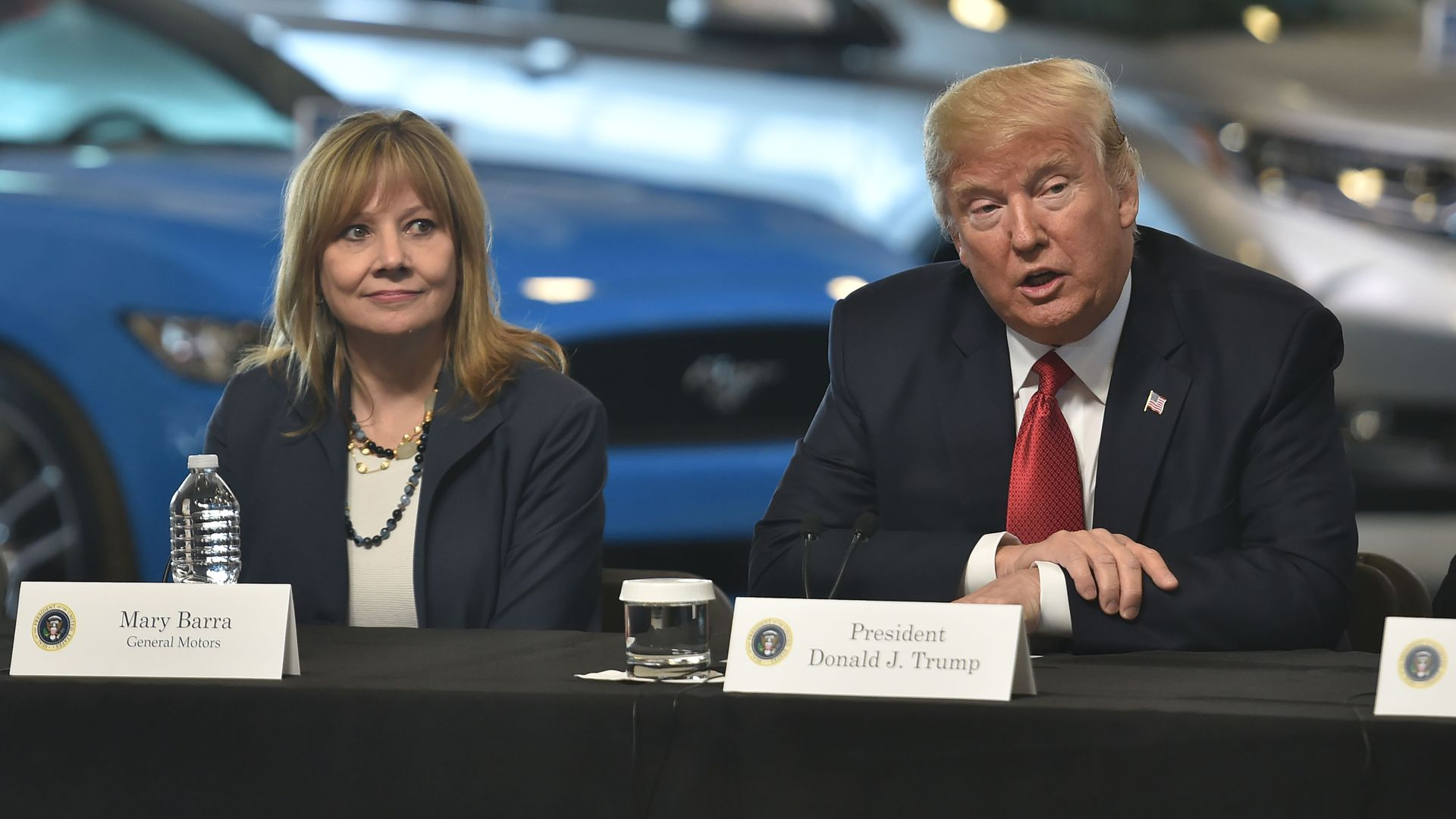 President Trump with GM CEO Mary Barra in 2017 at a auto factory