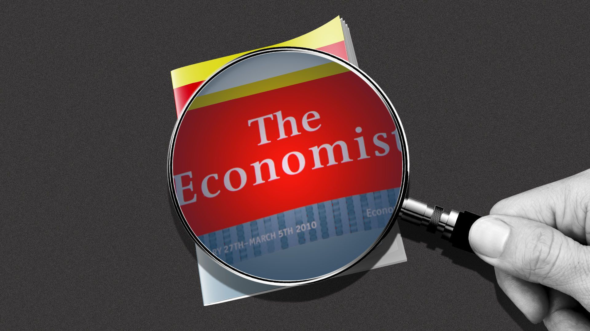 A magnifying glass is being held up overtop the Economist magazine.