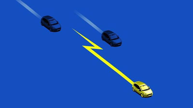 Illustration of an electric car zooming ahead of other cars