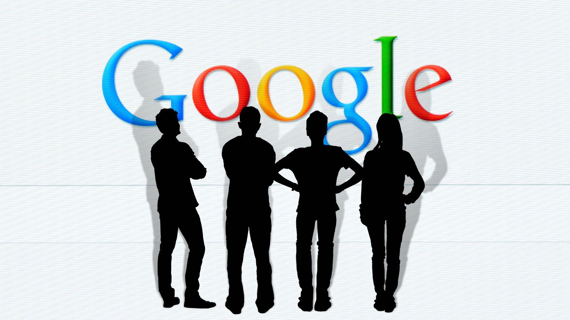 Illustration of four angry employees in silhouette facing the Google search homepage