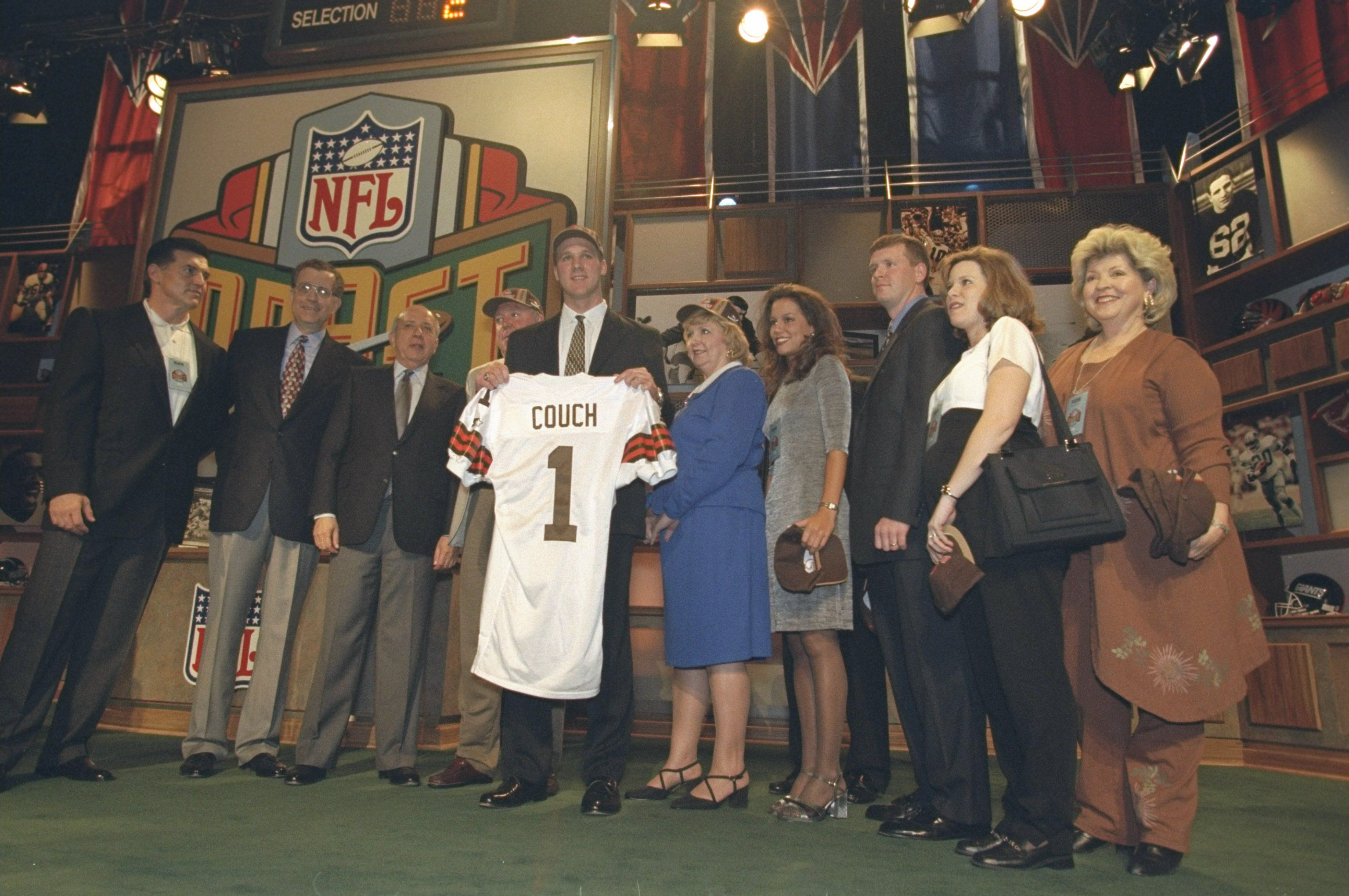 Tim Couch poses on draft night