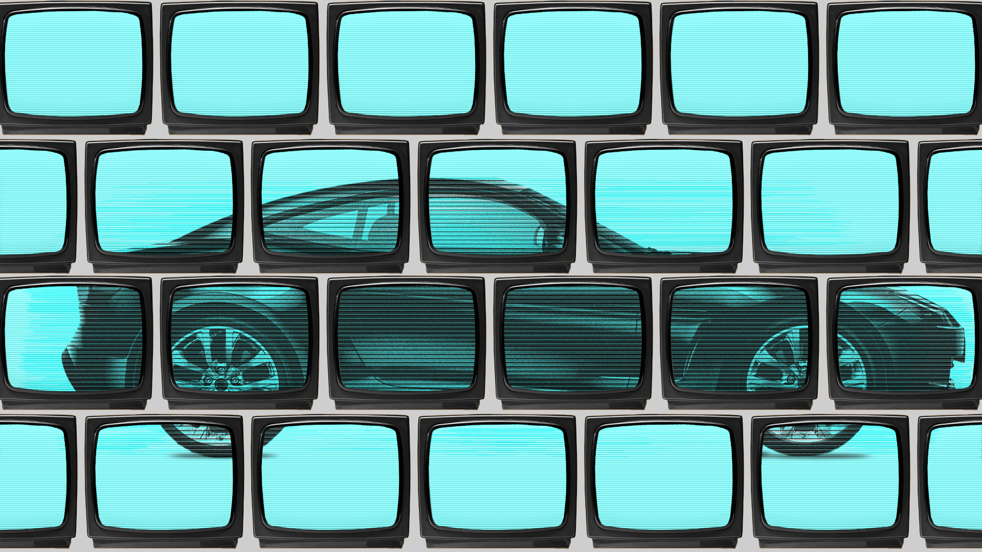 Illustration of a wall of televisions showing footage of a car