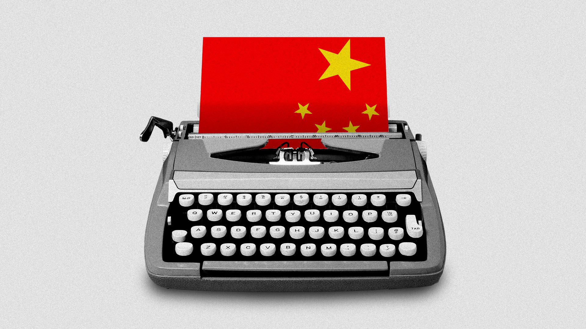 Illustration of typewriter typing out a Chinese flag
