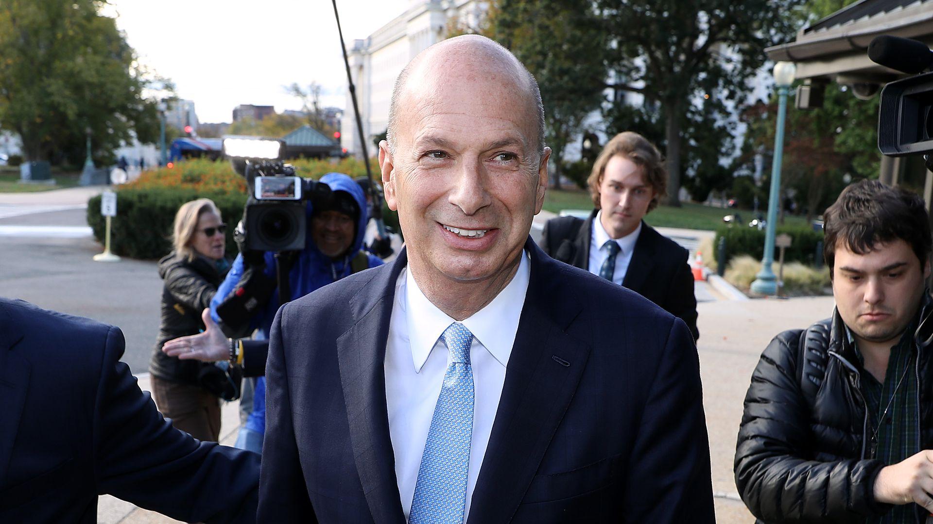 U.S. Ambassador to the European Union Gordon Sondland (C) arrives at the U.S. Capitol on October 17
