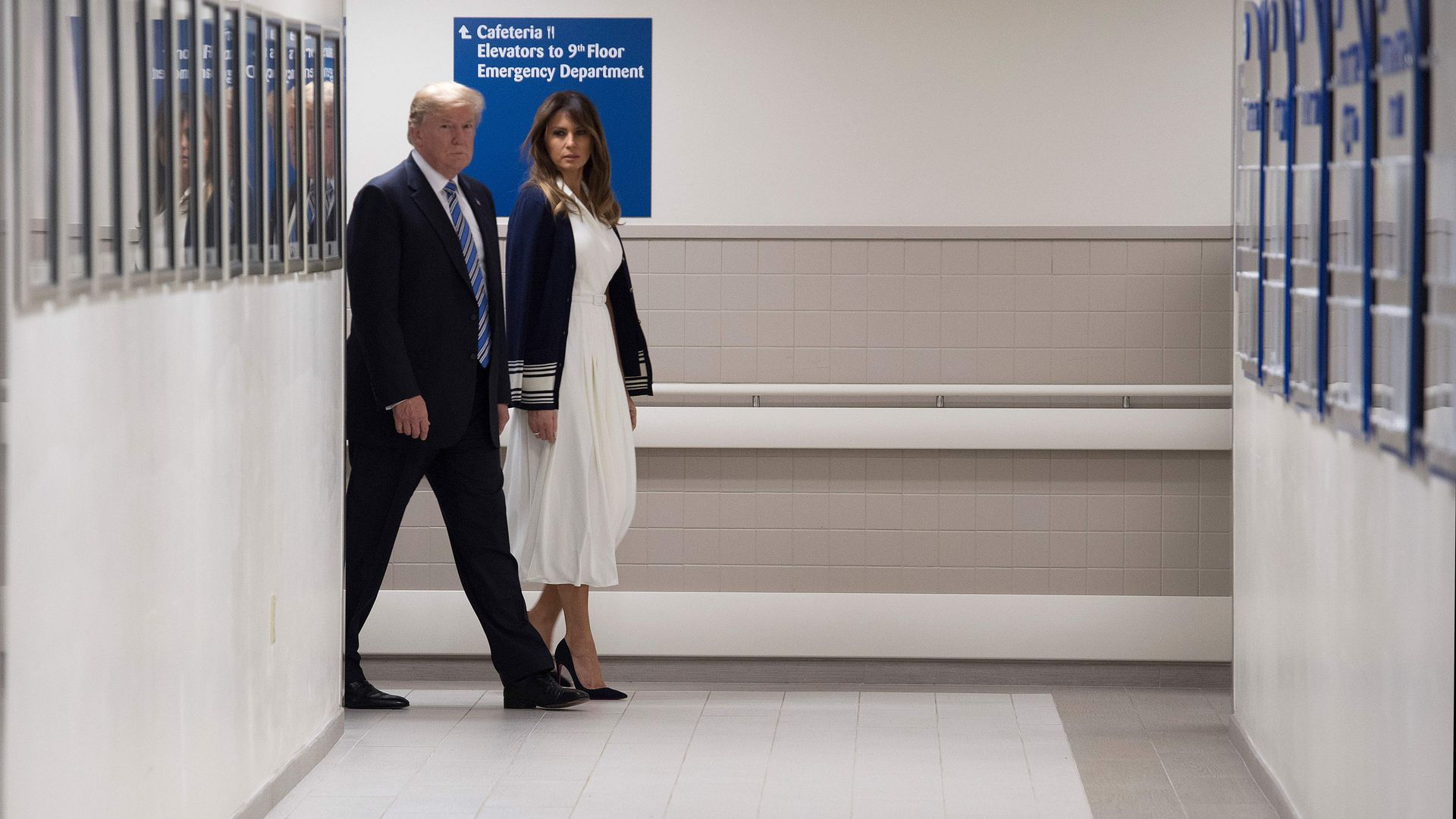 President Trump and the First Lady at a Florida hospital