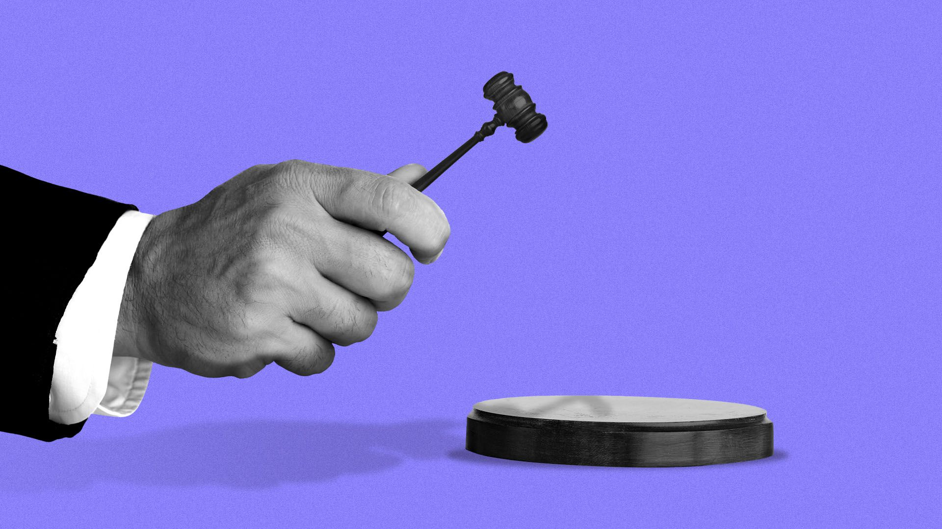 Illustration of a judge holding a tiny gavel