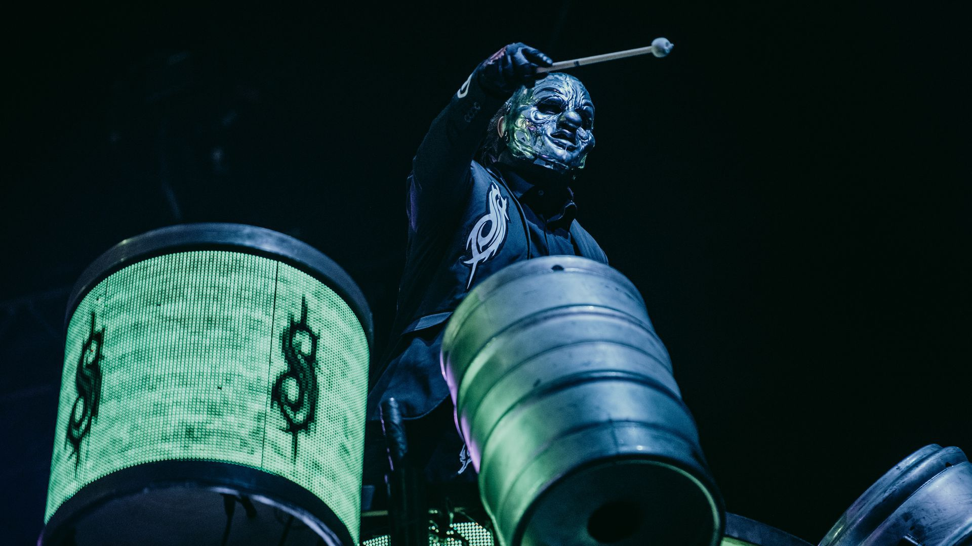 A member of Slipknot performs on the drums