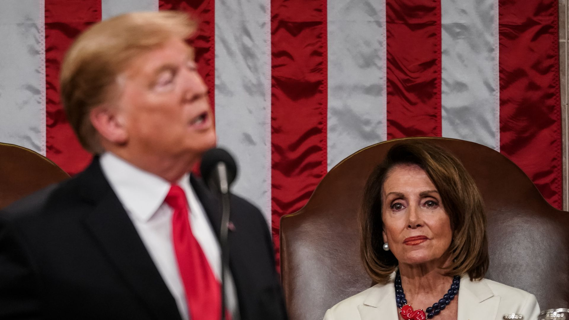 Speaker Nancy Pelosi looks on as U.S. President Donald Trump delivers the State of the Union address in the chamber of the U.S. House of Representatives at the U.S. Capitol Building on February 5.