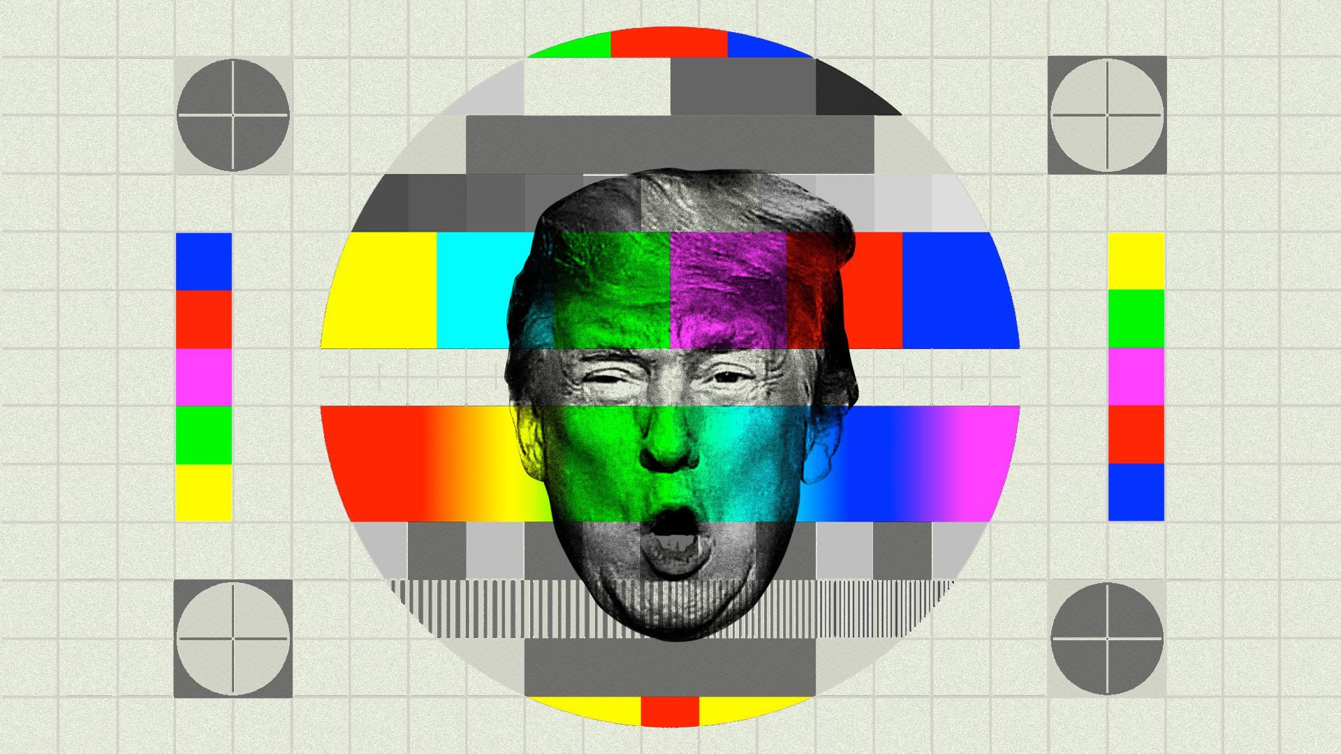 An illustration of Trump's talking head in a TV screen with a pixelated rainbow