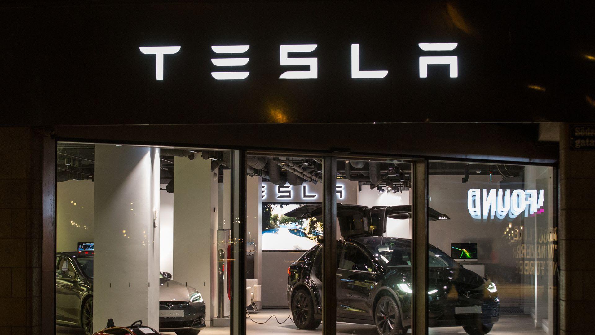 A Tesla care store