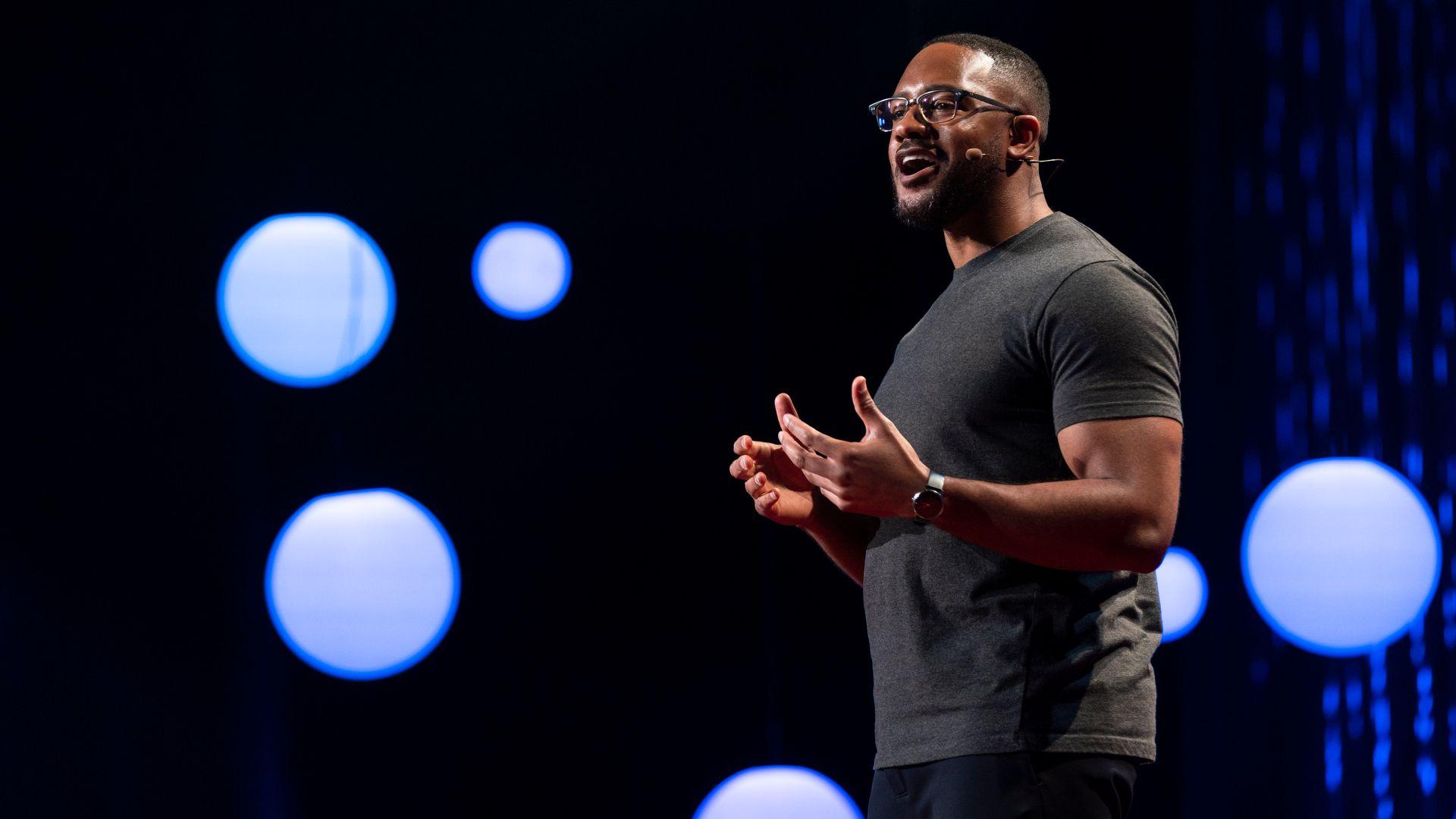 Raheem founder Brandon Anderson speaking at TED2019