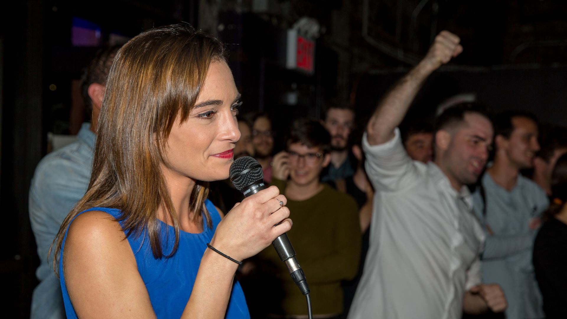 Democratic Socialist Julia Salazar, a  candidate for New York state Senate, delivers her victory speech. Photo: Scott Heins/Getty Images)