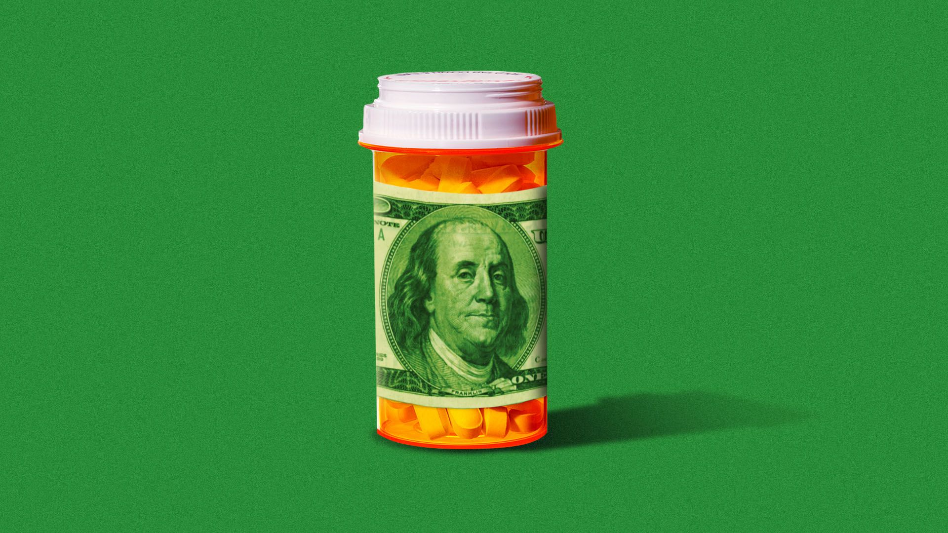 Illustration of a pill bottle with a hundred dollar bill for a label
