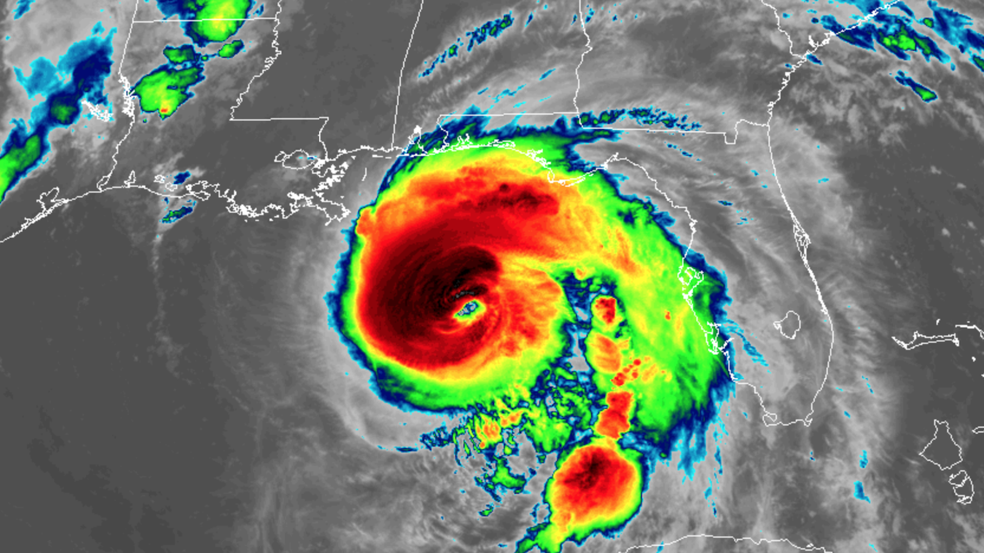 Satellite image of powerful Hurricane Michael nearing the Panhandle of Florida on October 9, 2018.