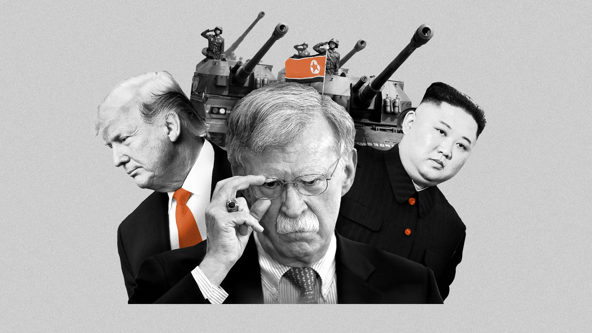 Photo illustration of John Bolton, President Trump, Kim Jong Un, and a collection of tanks from a North Korean military parade.