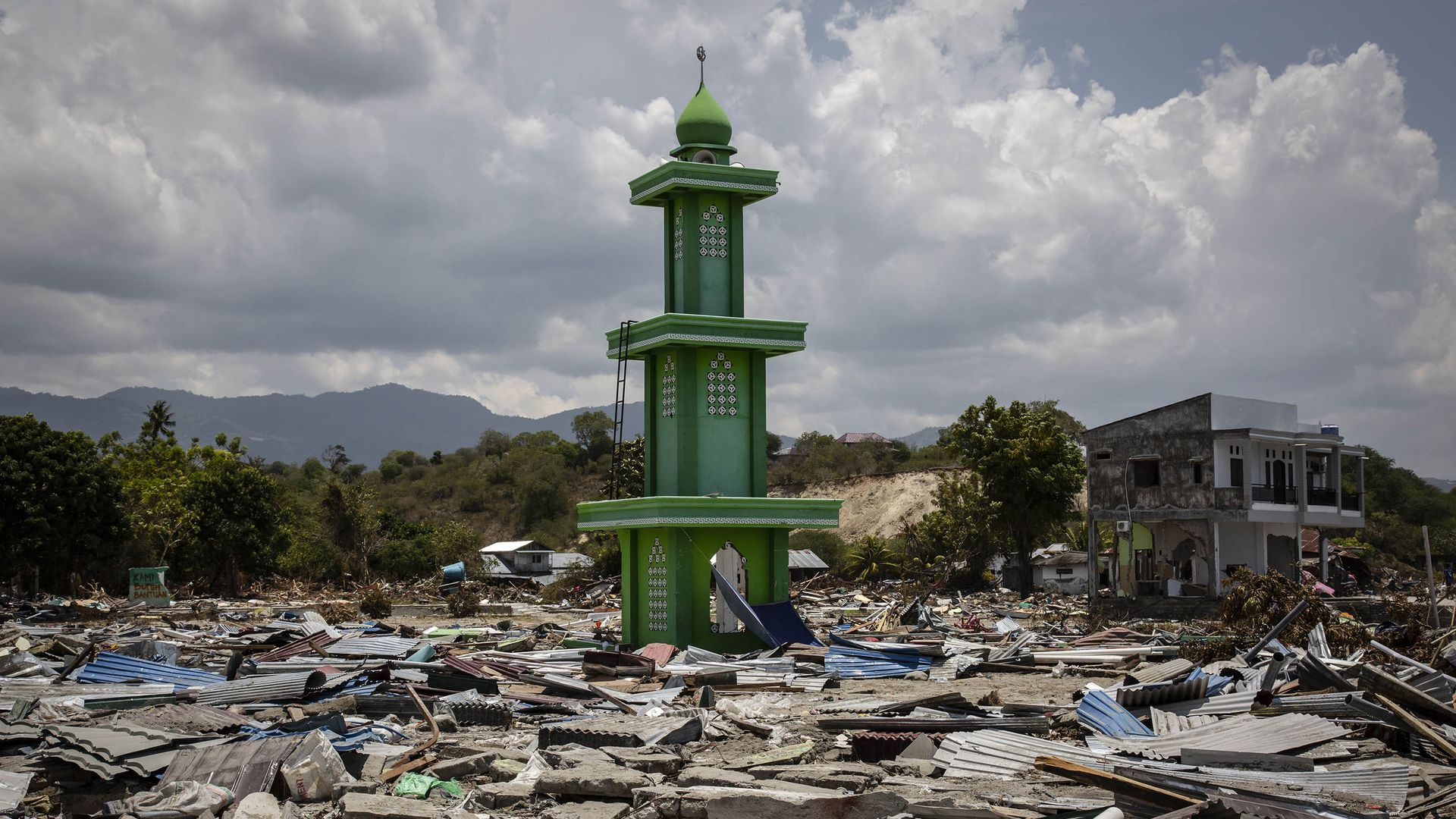 A mosque in the rubble in Indonesia