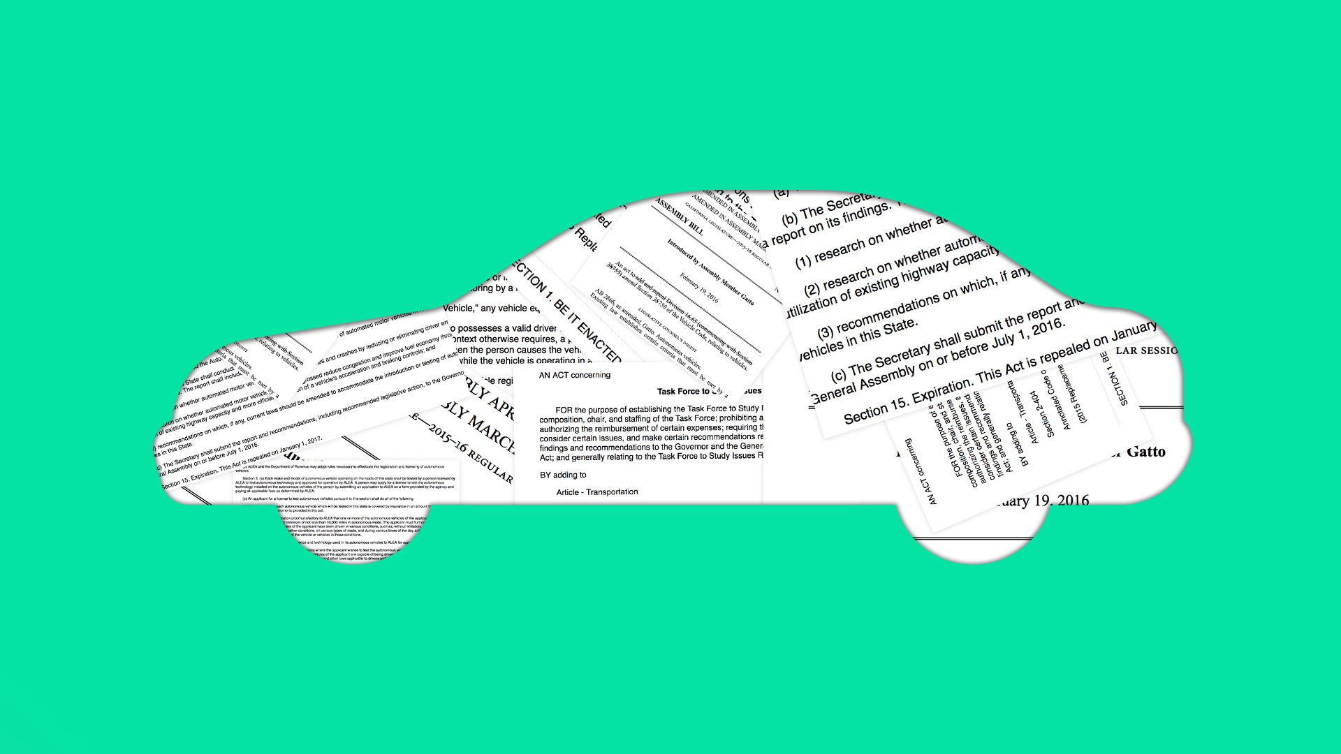 silhouette of a car filled with mocked-up legislation drafts
