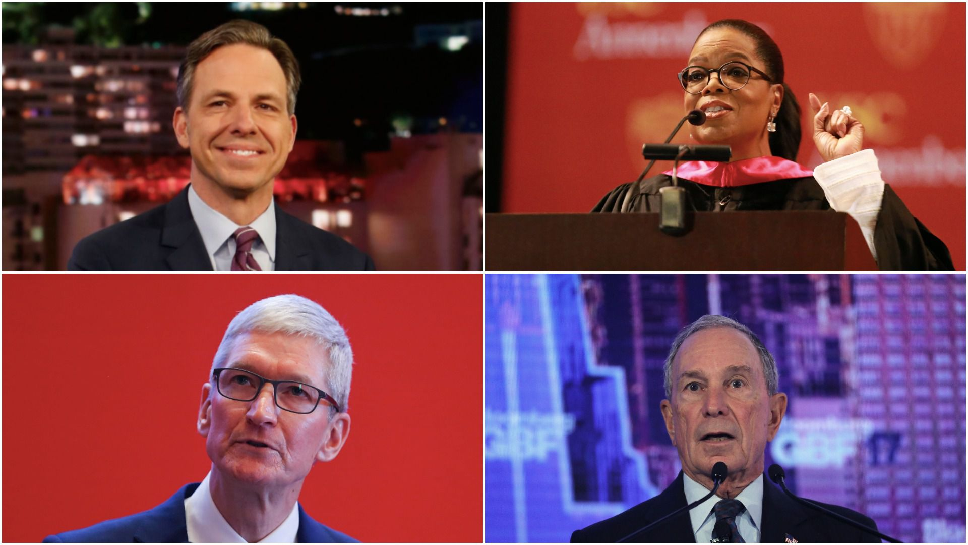 A photo collage of Jake Tapper, Oprah Winfrey, Tim Cook and Michael Bloomberg