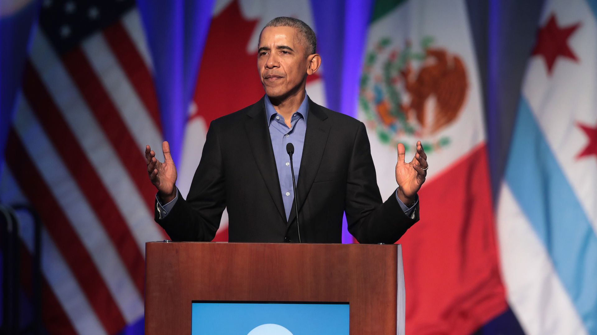Former president Obama gives a speech in Chicago