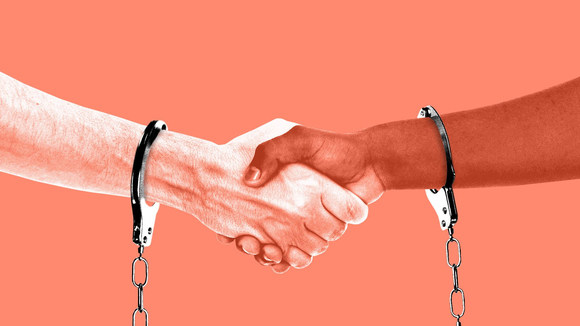 Illustration of two people shaking hands while wearing handcuffs