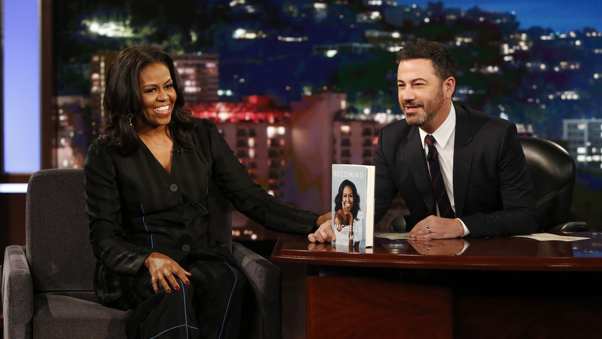 Michele Obama with Jimmy Kimmel
