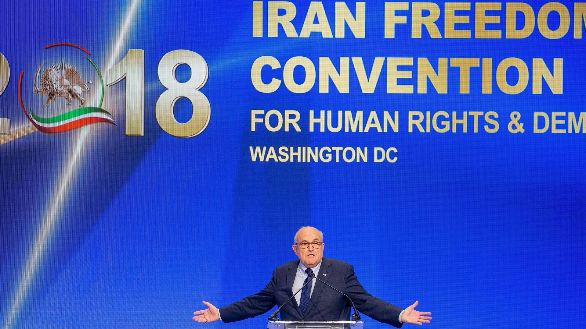 Rudy Giuliani speaks at the Conference on Iran on May 5, 2018 in Washington, DC.