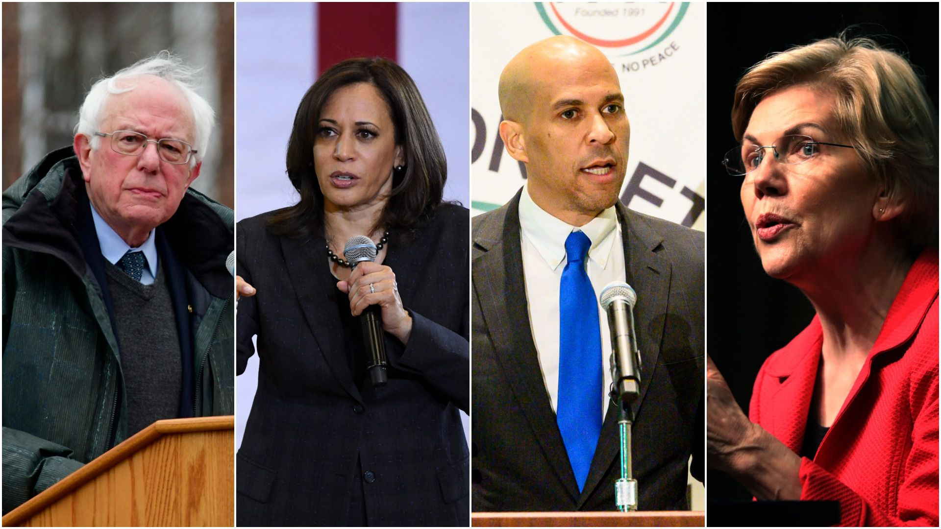 2020 Democratic presidential candidates, Senators Bernie Sanders, Kamala Harris, Cory Booker and Elizabeth Warren