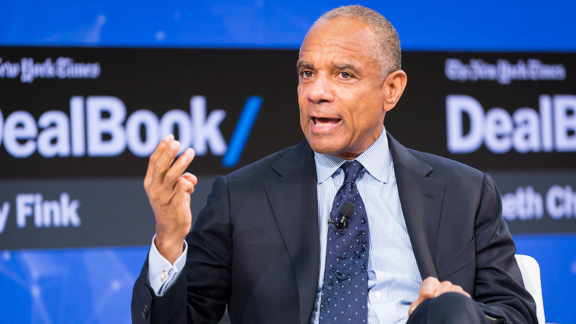 American Express CEO Kenneth Chenault speaks at a New York Times conference
