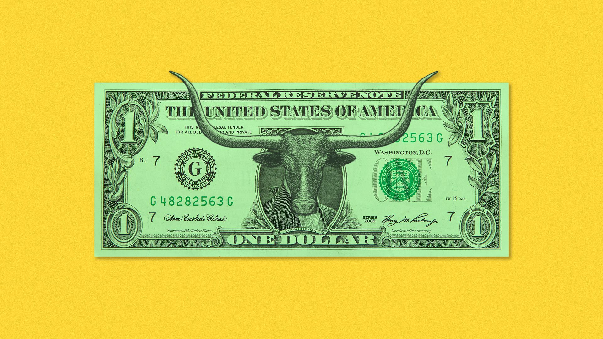 Illustration of a bull on the dollar bill in the place of a president