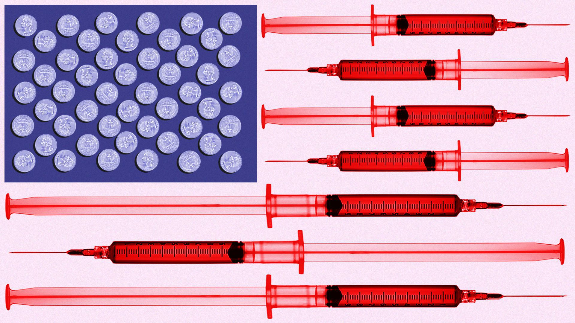 Illustration of an American flag made up of syringes and quarters