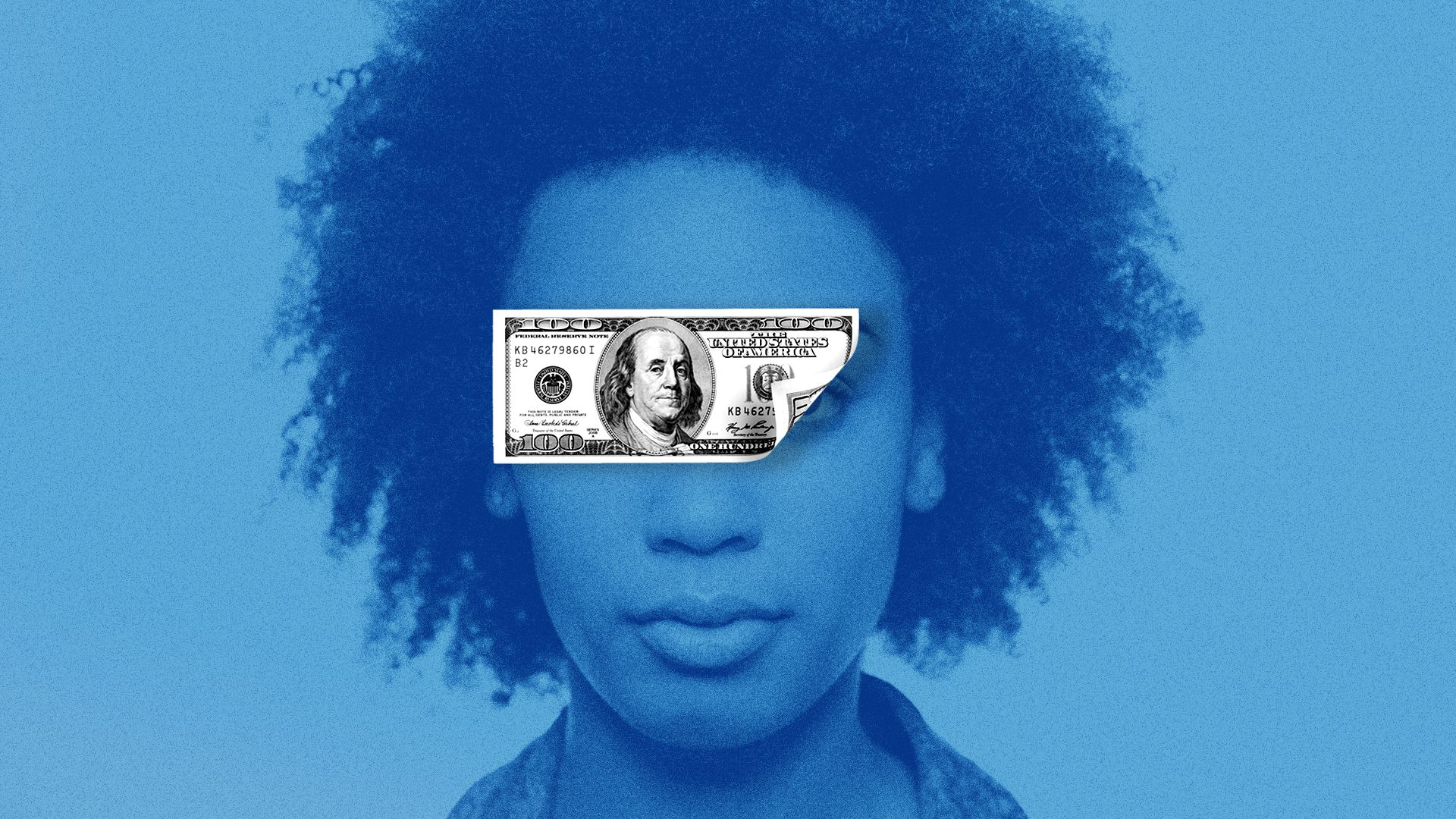 Woman with a $100 bill covering her eyes.