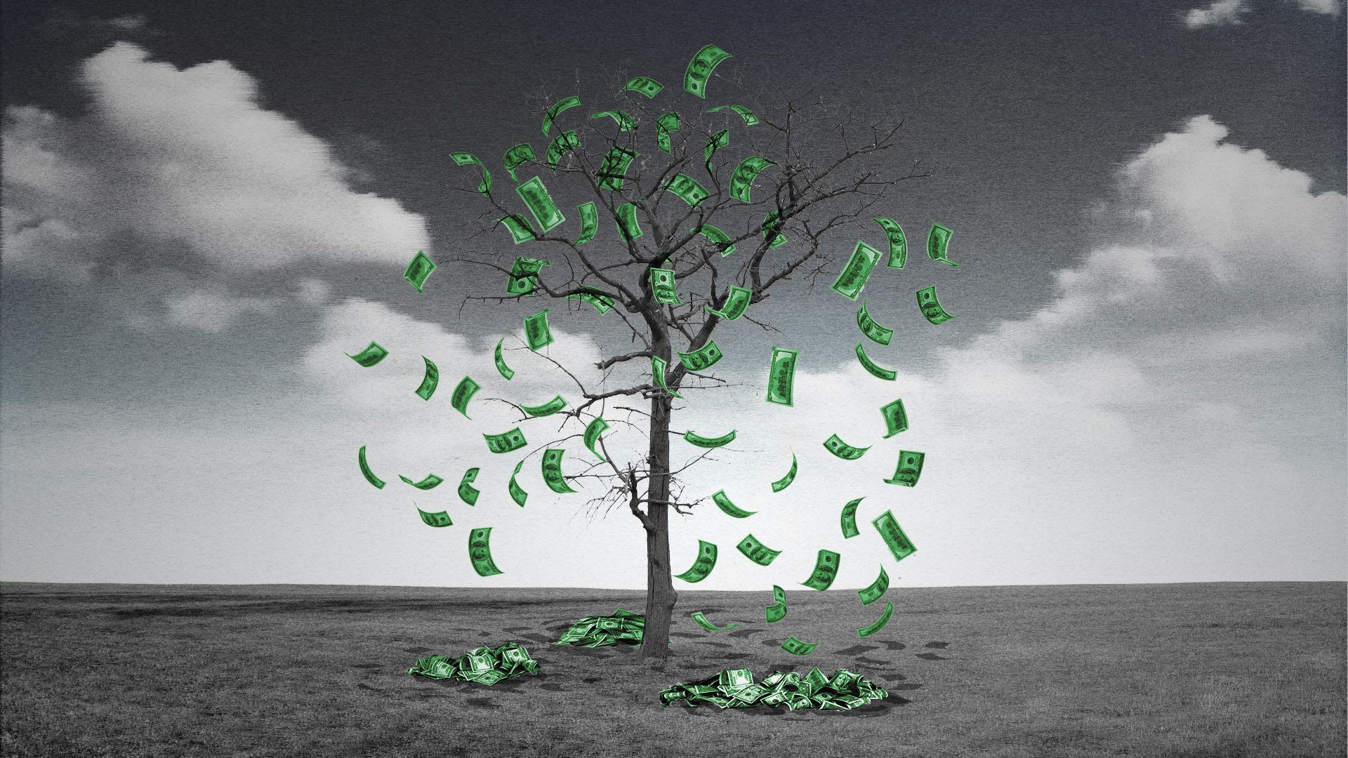 Illustration of money falling off what looks like a dead tree.