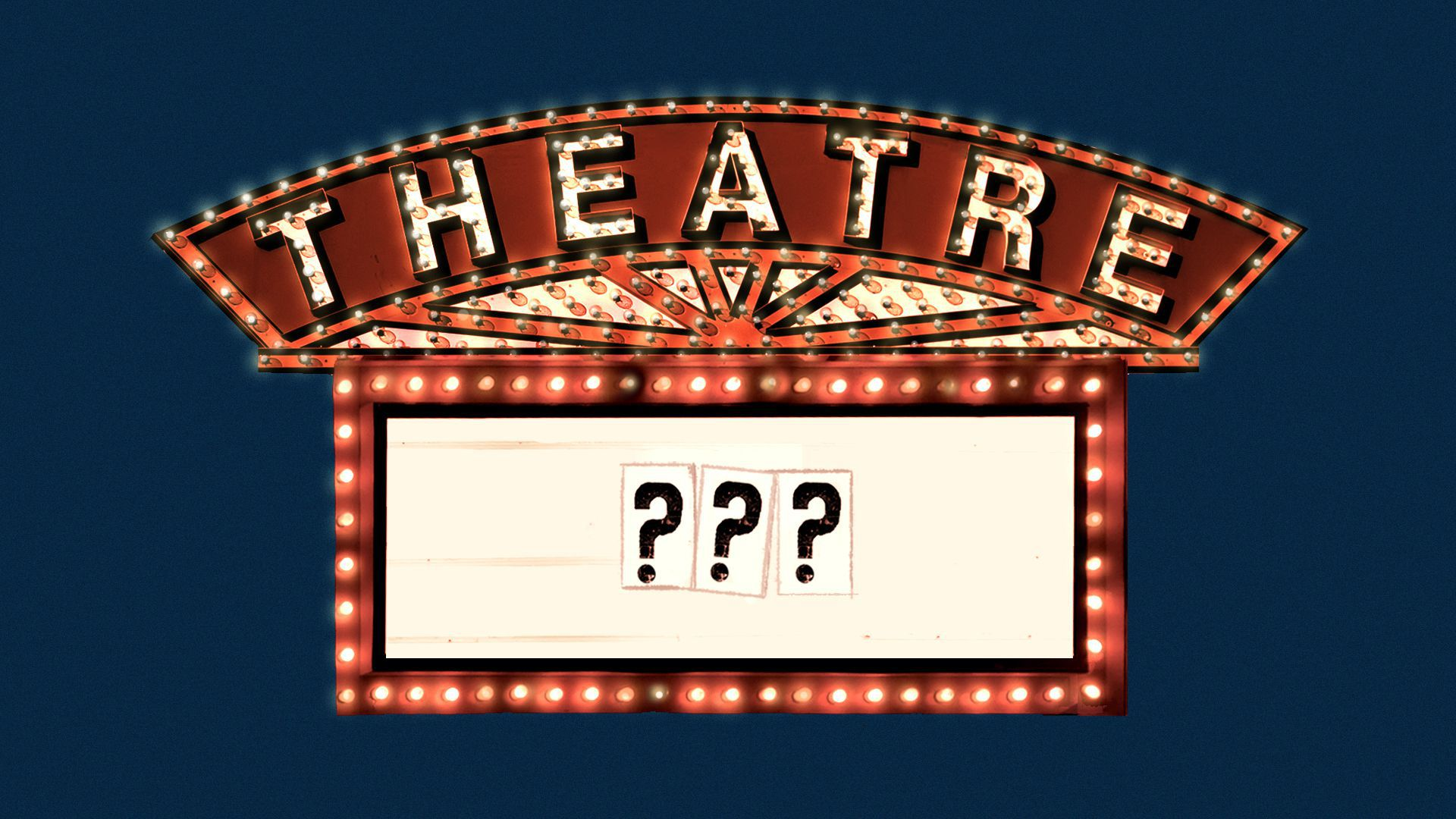 Illustration of a movie theater marquee with question markson it