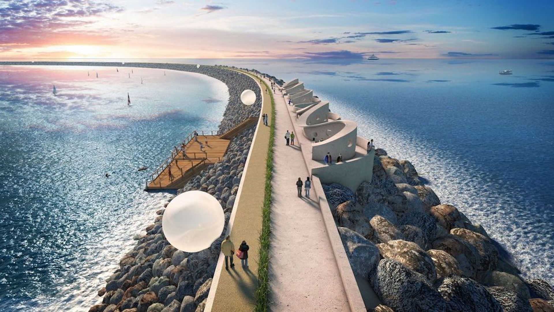 A rendering of the Swansea Tidal Lagoon project. Image: Tidal Lagoon Power via PA Wire