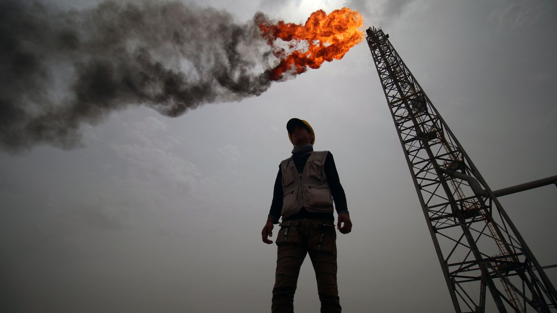An employee stands at the Hammar Mushrif new Degassing Station Facilities site inside the Zubair oil and gas field, north of the southern Iraqi province of Basra on May 9, 2018.