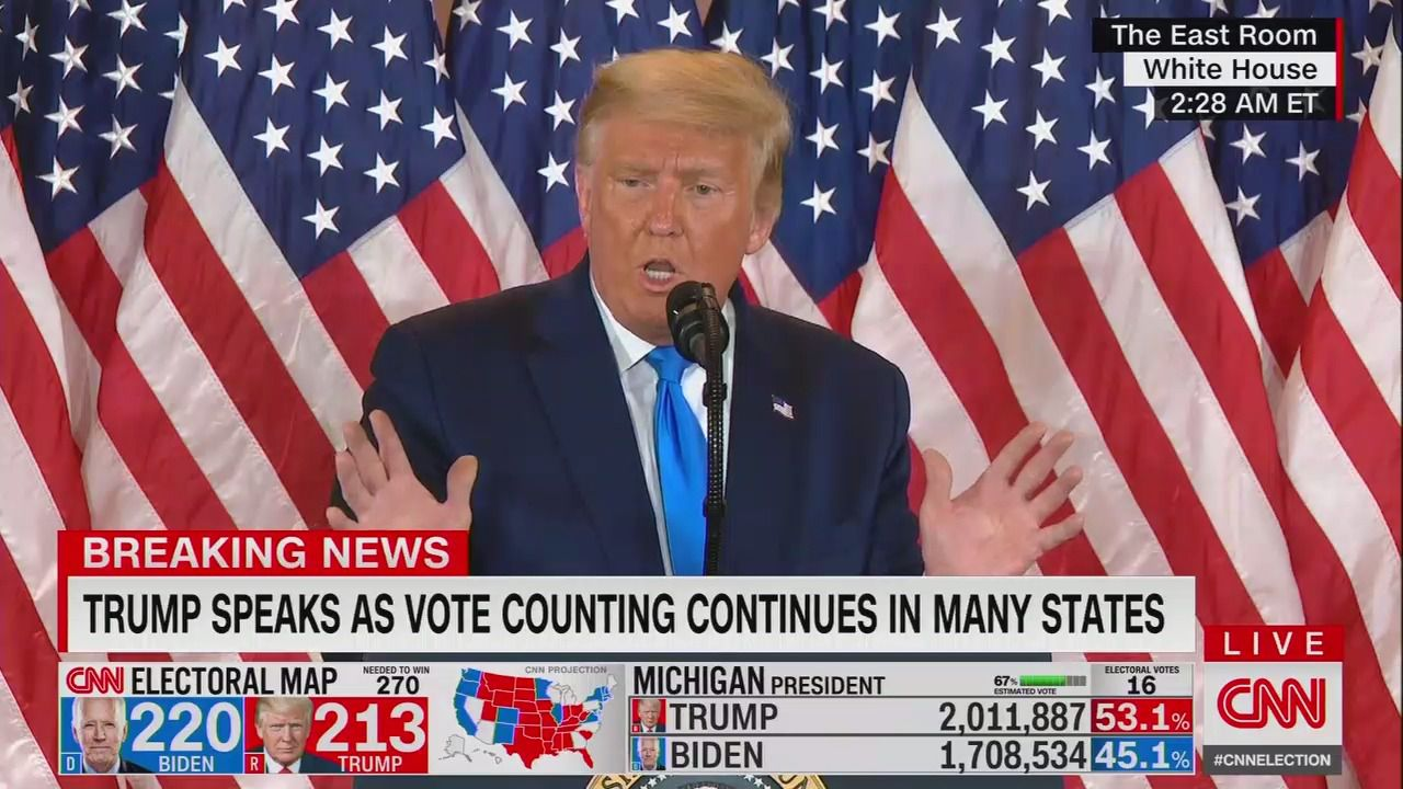 Trump falsely and prematurely claims election victory