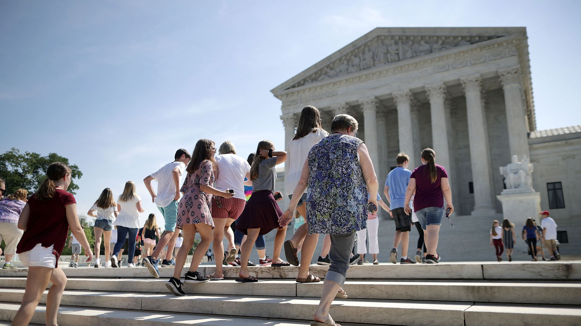 People walking in front of the Supreme Court