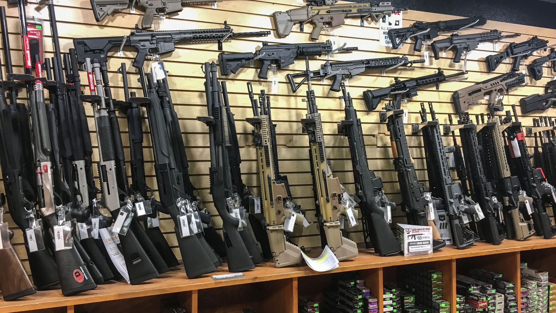 Semi-automatic rifles are seen for sale in a gun shop in Las Vegas, Nevada.