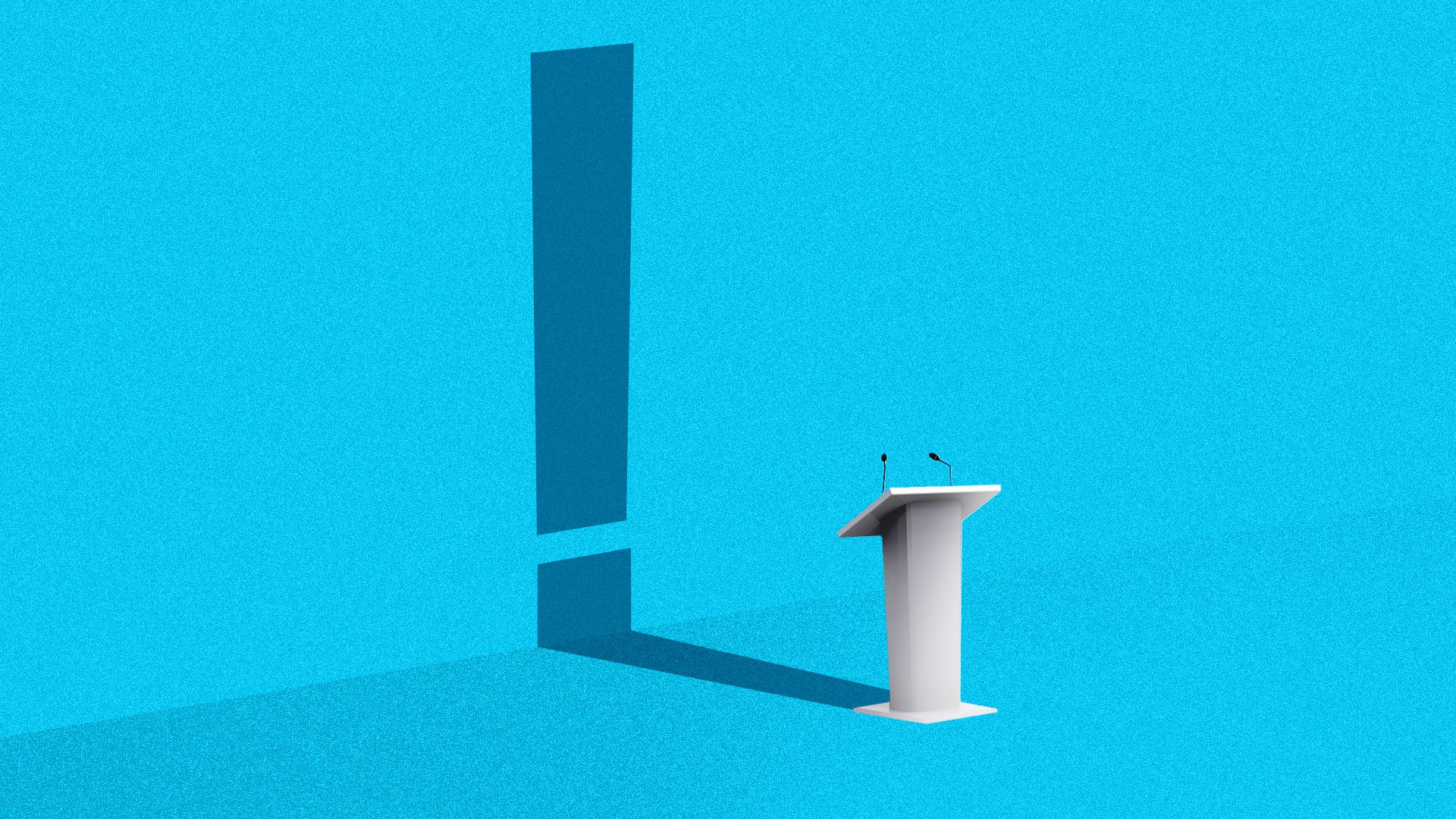Illustration of a podium casting a shadow in the shape of an exclamation point.