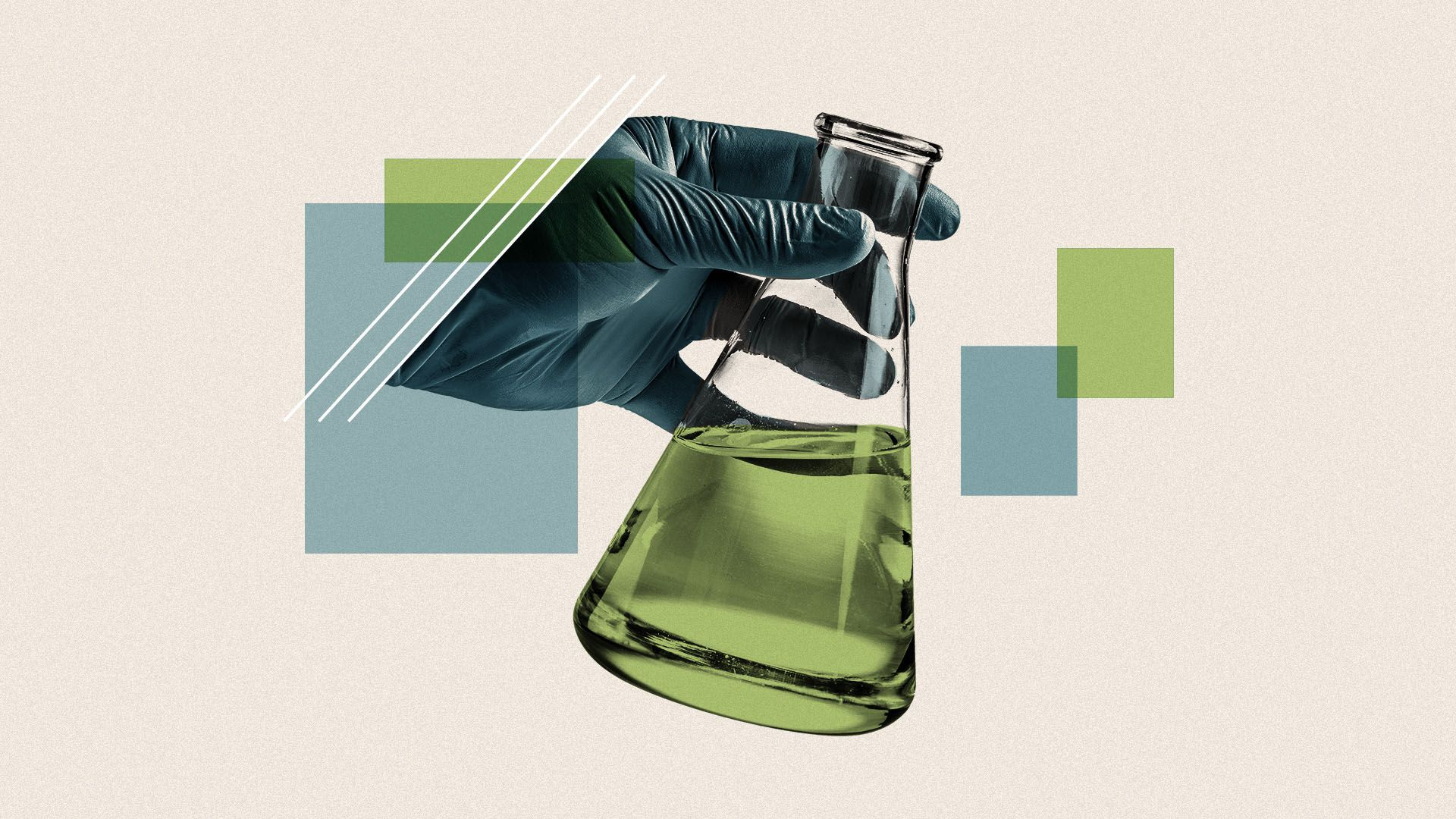 Illustration of a hand in a medical glove holding a beaker full of liquid