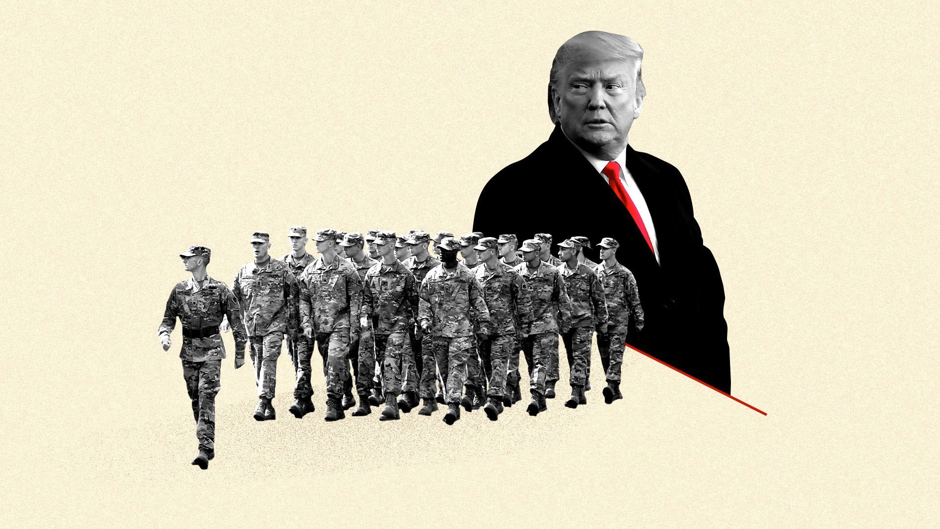 Photo illustration of President Trump and marching soldiers.